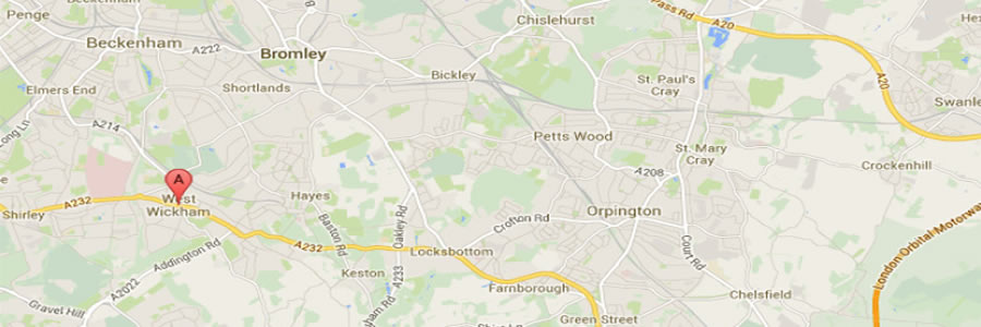 map showing West Wickham area for oven cleaning